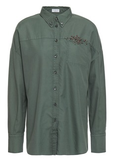 Brunello Cucinelli Woman Embellished Cotton-canvas Shirt Grey Green
