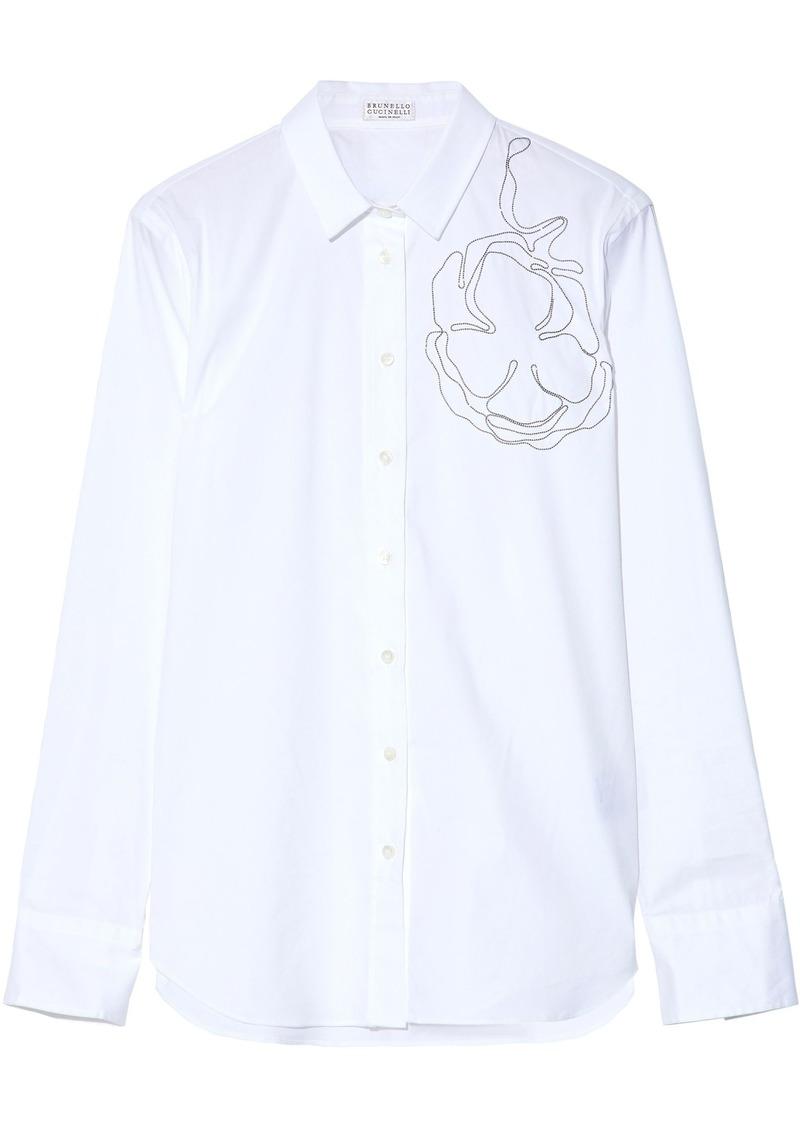 Brunello Cucinelli Woman Embellished Cotton-poplin Shirt White