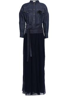 Brunello Cucinelli Woman Embellished Denim Satin And Pleated Tulle Maxi Dress Dark Denim