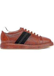 Brunello Cucinelli Woman Embellished Glittered Textured-leather Sneakers Copper