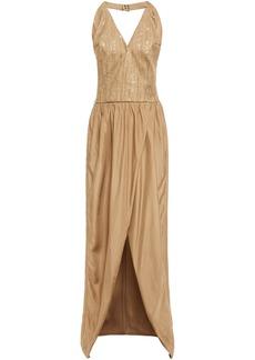Brunello Cucinelli Woman Embellished Herringbone Cotton-blend And Silk-habotai Halterneck Maxi Dress Sand