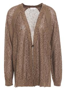 Brunello Cucinelli Woman Embellished Linen And Silk-blend Cardigan Light Brown