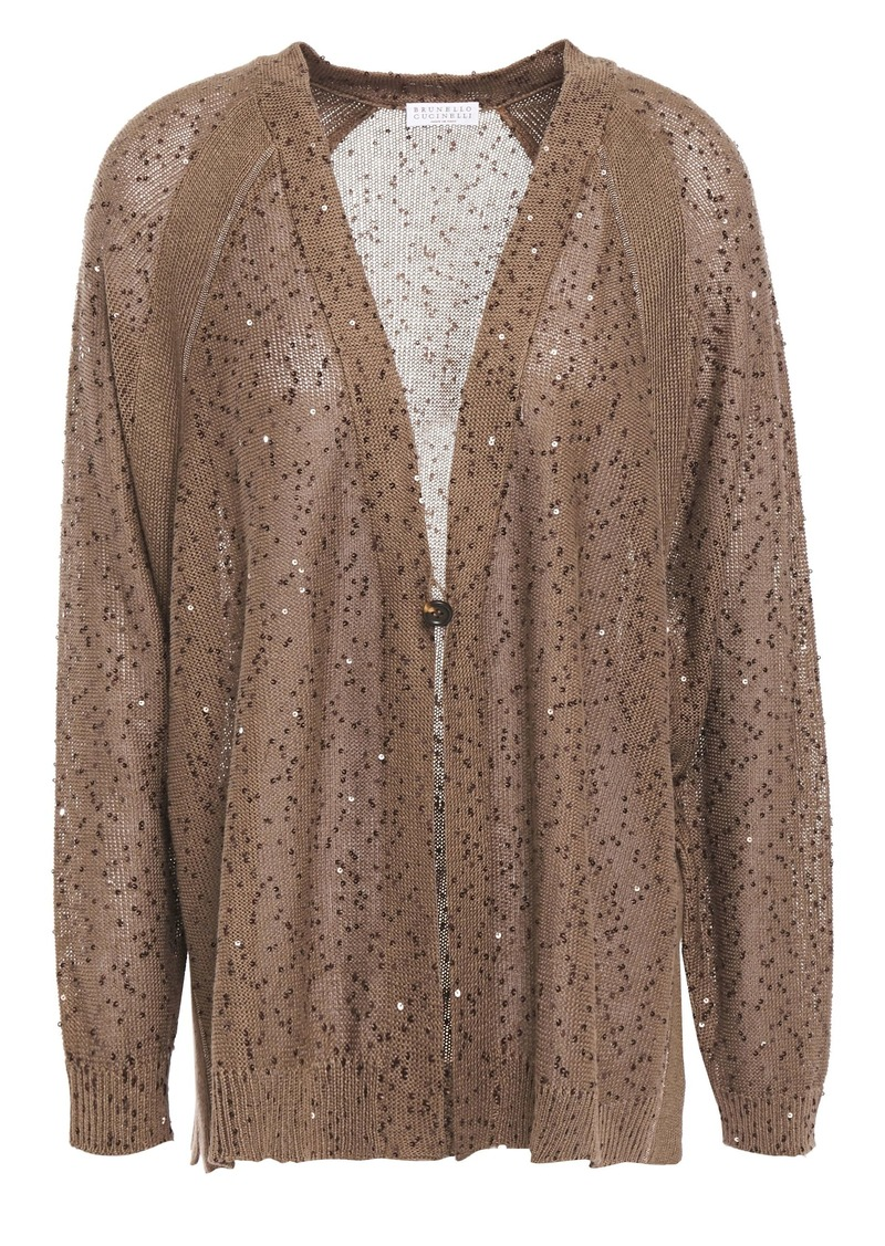 Brunello Cucinelli Woman Embellished Linen And Silk-blend Cardigan Light Brown
