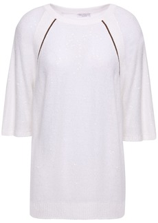 Brunello Cucinelli Woman Embellished Linen And Silk-blend Sweater Ivory