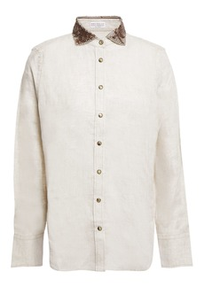 Brunello Cucinelli Woman Embellished Linen Shirt Neutral