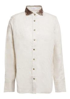 Brunello Cucinelli Woman Embellished Linen Shirt Neutral