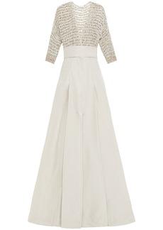 Brunello Cucinelli Woman Embellished Open Knit-paneled Pleated Poplin Maxi Dress Ecru