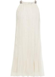 Brunello Cucinelli Woman Embellished Pleated Silk-organza Dress Cream