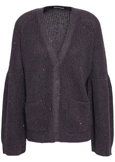 Brunello Cucinelli Woman Embellished Ribbed Cotton Linen And Silk-blend Cardigan Dark Purple