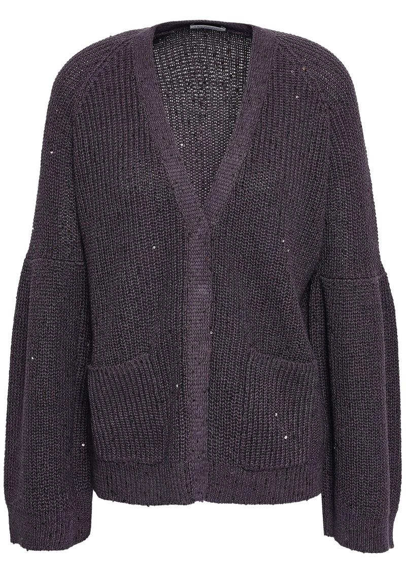 Brunello Cucinelli Woman Embellished Ribbed Cotton Linen And Silk-blend Cardigan Dark Purple