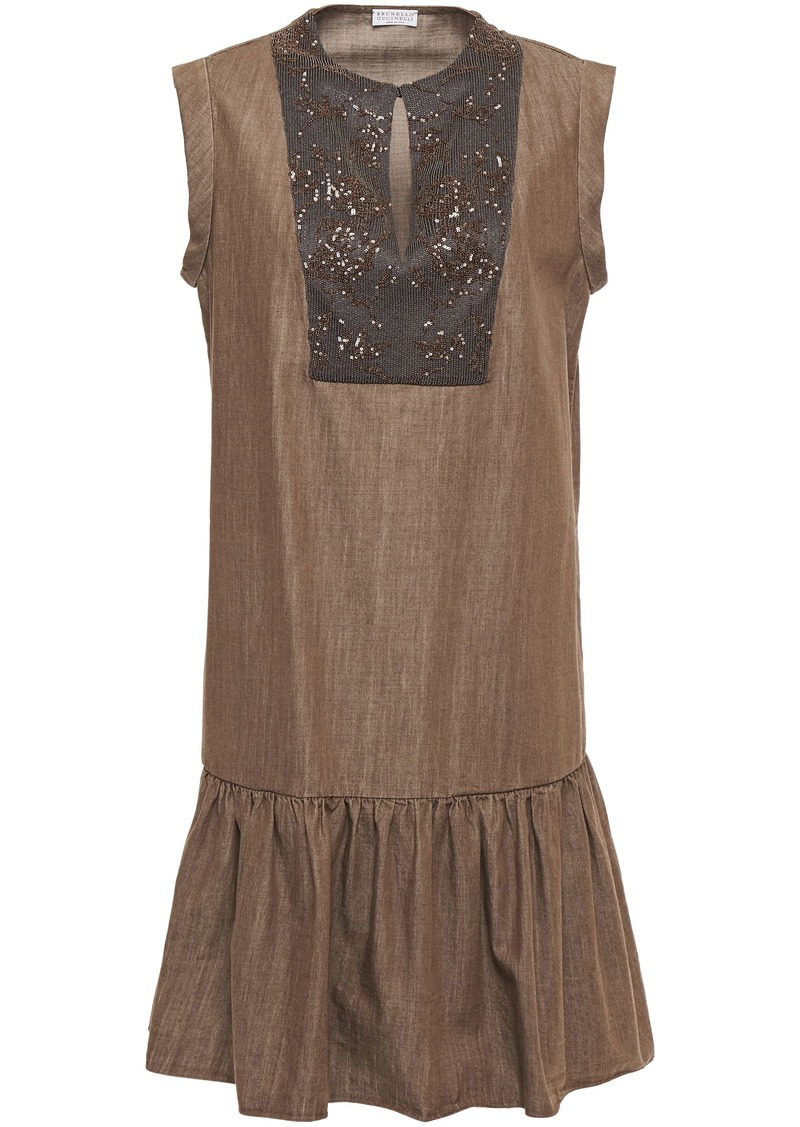 Brunello Cucinelli Woman Embellished Satin-paneled Denim Mini Dress Brown