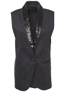 Brunello Cucinelli Woman Embellished Satin-trimmed Herringbone Cotton-blend Vest Charcoal