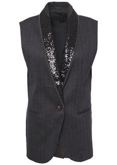 Brunello Cucinelli Woman Embellished Satin-trimmed Herringbone Cotton-blend Vest Charcoal