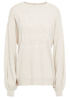 Brunello Cucinelli Woman Embroidered Mélange Cashmere Sweater Neutral