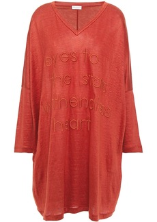 Brunello Cucinelli Woman Embroidered Slub Linen And Silk-blend Jersey Tunic Tomato Red