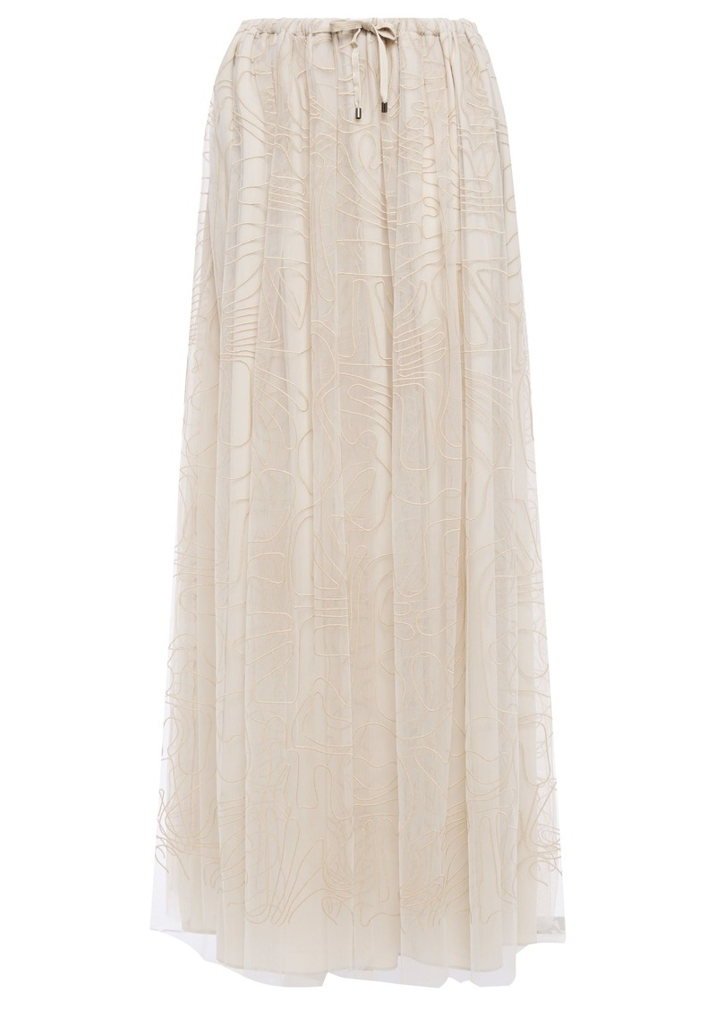 Brunello Cucinelli Woman Embroidered Tulle Maxi Skirt Neutral