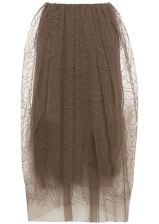 Brunello Cucinelli Woman Embroidered Tulle Midi Skirt Light Brown