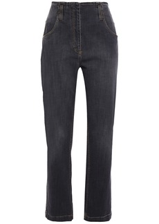 Brunello Cucinelli Woman Faded High-rise Straight-leg Jeans Charcoal