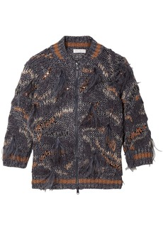 Brunello Cucinelli Woman Feather And Sequin-embellished Metallic Cotton-blend Cardigan Storm Blue