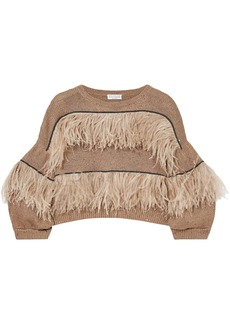 Brunello Cucinelli Woman Feather-trimmed Embellished Cotton Linen And Silk-blend Sweater Light Brown