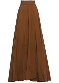 Brunello Cucinelli Woman Flared Pleated Taffeta Maxi Skirt Chocolate