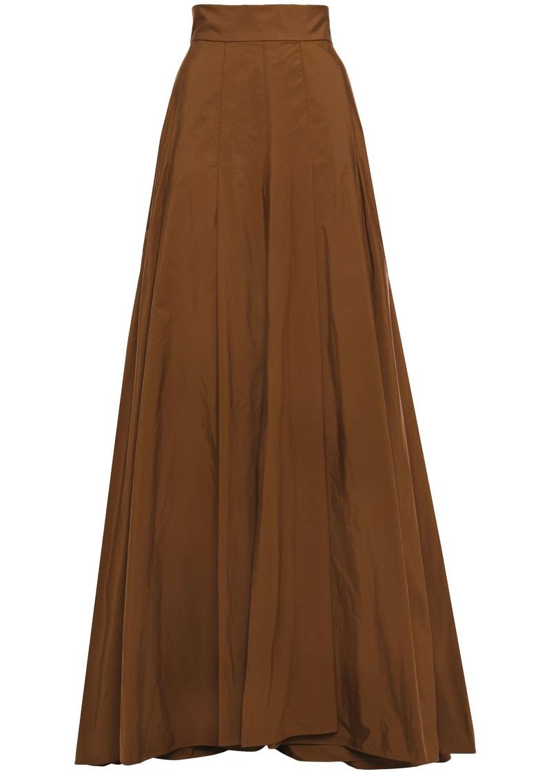 Brunello Cucinelli Woman Flared Pleated Taffeta Maxi Skirt Chocolate