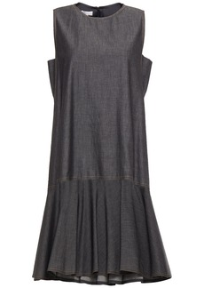 Brunello Cucinelli Woman Fluted Bead-embellished Cotton Dress Charcoal