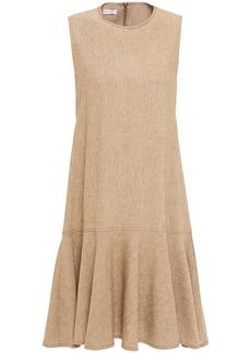 Brunello Cucinelli Woman Fluted Bead-embellished Linen-blend Dress Sand