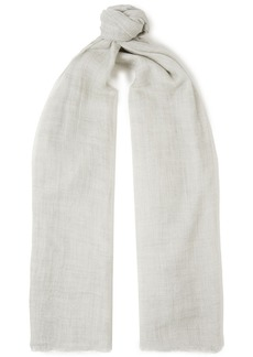 Brunello Cucinelli Woman Frayed Cashmere-gauze Scarf Light Gray