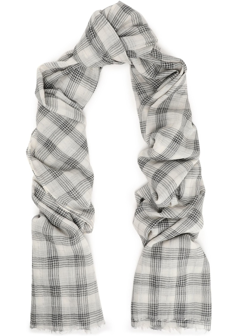 Brunello Cucinelli Woman Frayed Checked Cashmere-blend Scarf Light Gray
