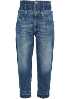 Brunello Cucinelli Woman Frayed Layered High-rise Boyfriend Jeans Mid Denim