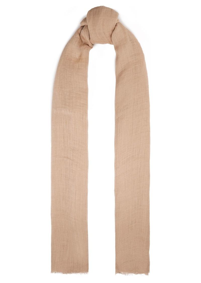 Brunello Cucinelli Woman Frayed Linen-gauze Scarf Neutral