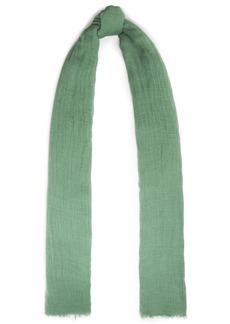 Brunello Cucinelli Woman Frayed Linen-gauze Scarf Green