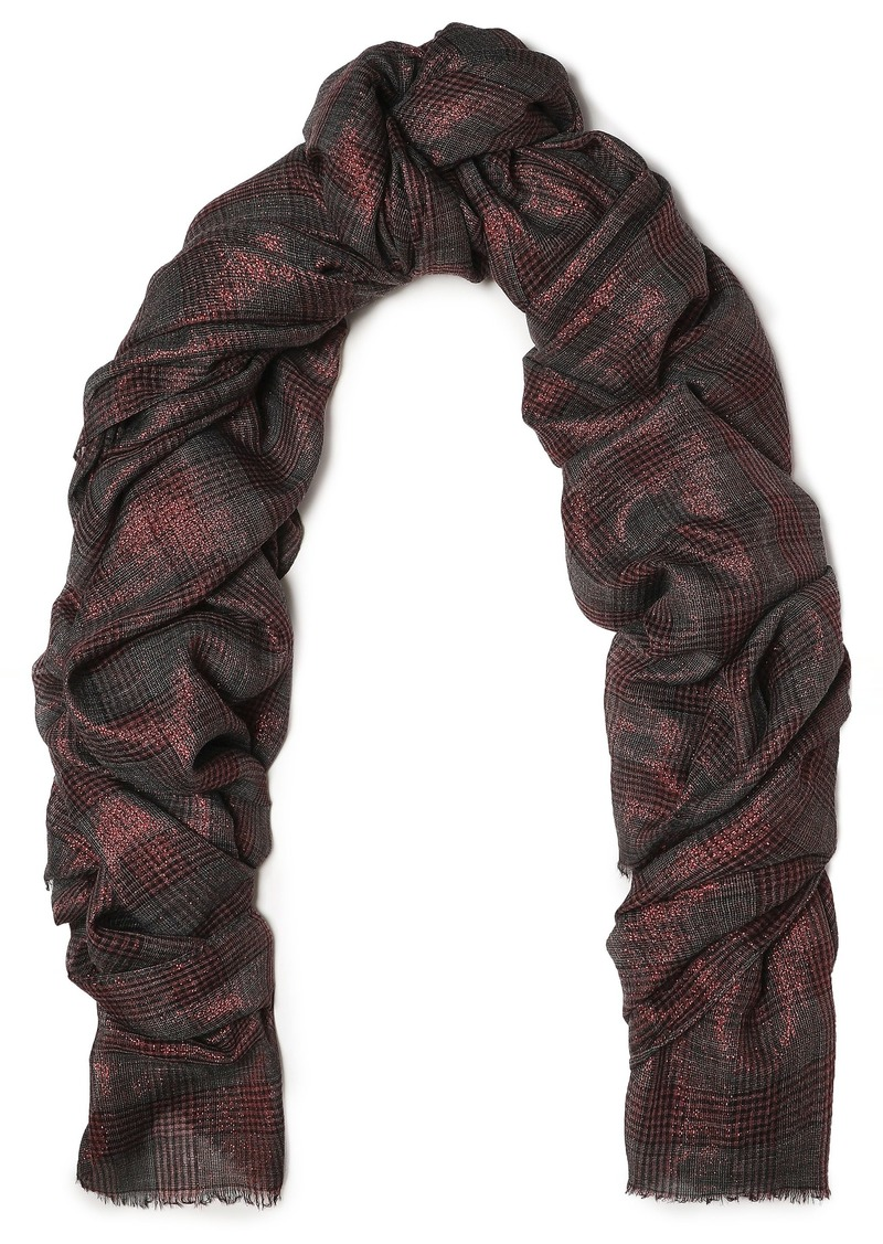 Brunello Cucinelli Woman Frayed Metallic Prince Of Wales Checked Gauze Scarf Brick