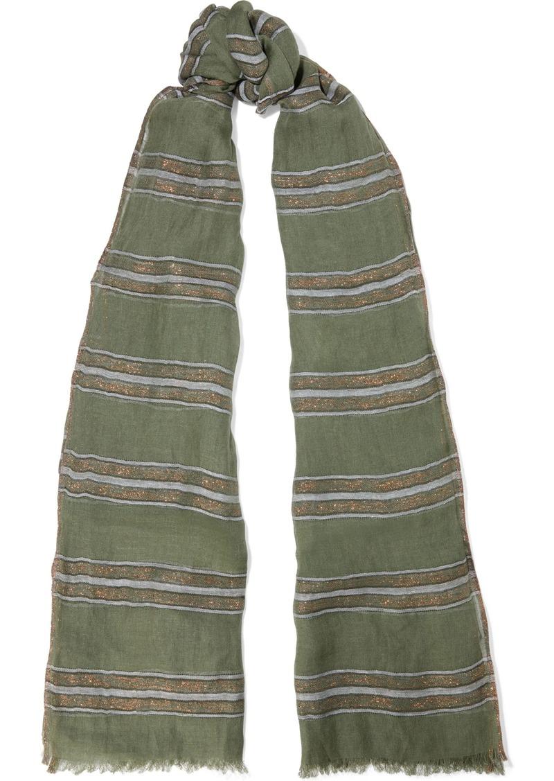 Brunello Cucinelli Woman Frayed Metallic Striped Linen-blend Gauze Scarf Leaf Green
