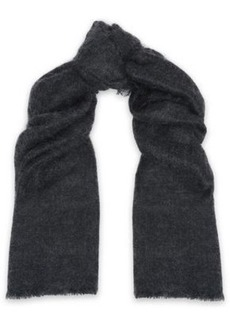 Brunello Cucinelli Woman Frayed Mohair-blend Scarf Charcoal