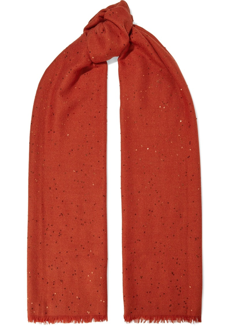 Brunello Cucinelli Woman Frayed Sequin-embellished Cashmere And Silk-blend Scarf Tomato Red