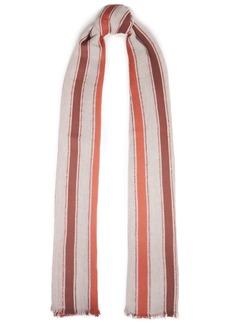 Brunello Cucinelli Woman Frayed Striped Cotton-blend Gauze Scarf Brick