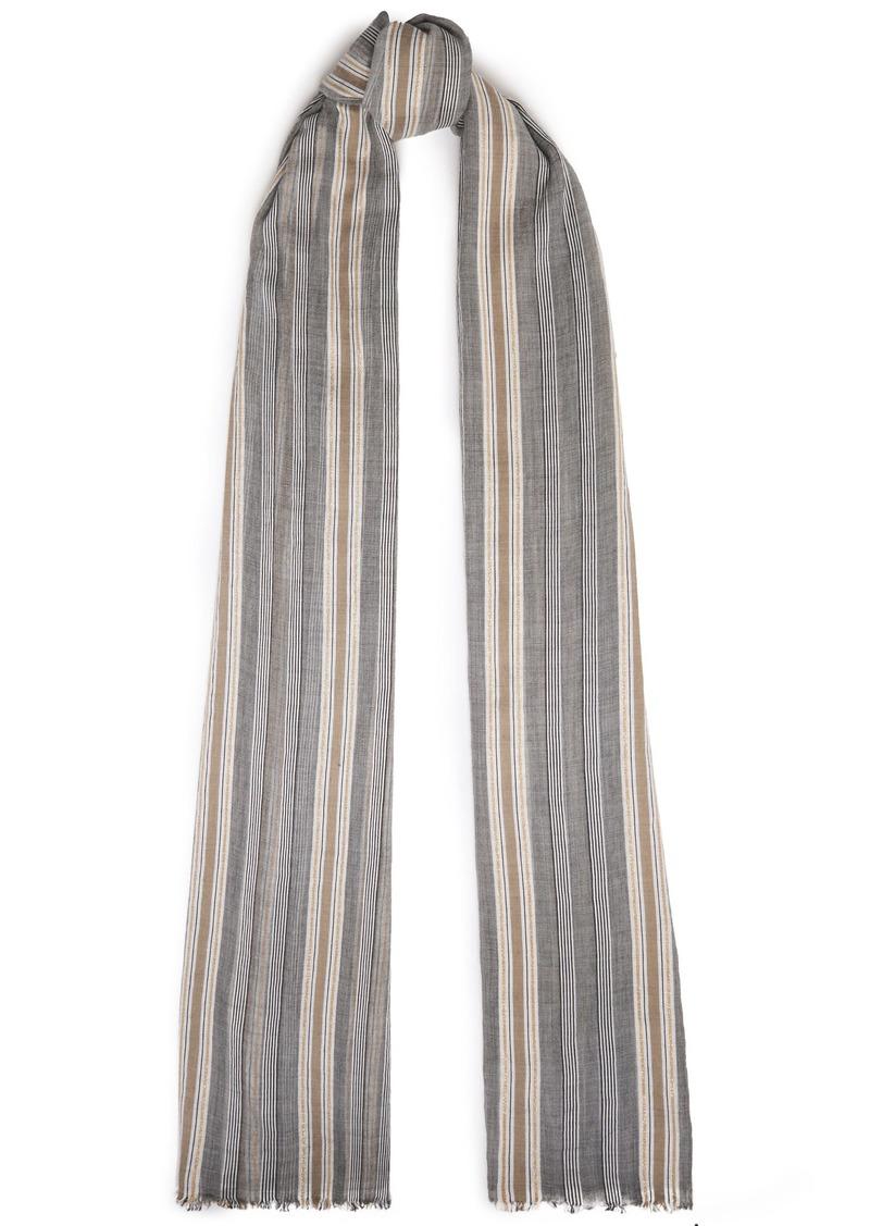 Brunello Cucinelli Woman Frayed Striped Cotton-blend Gauze Scarf Gray