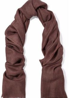 Brunello Cucinelli Woman Fringe-trimmed Twill Scarf Taupe