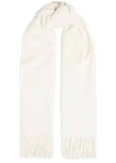 Brunello Cucinelli Woman Fringed Alpaca And Wool-blend Scarf Ivory