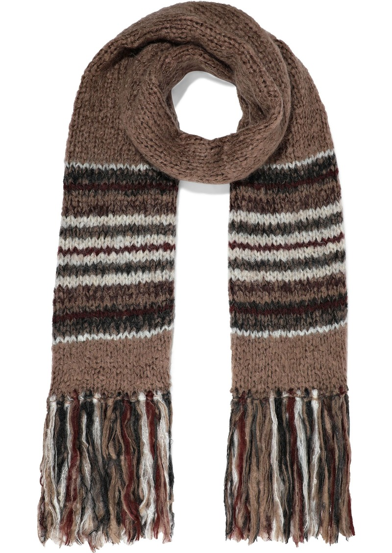 Brunello Cucinelli Woman Fringed Bead-embellished Striped Mohair-blend Scarf Mushroom