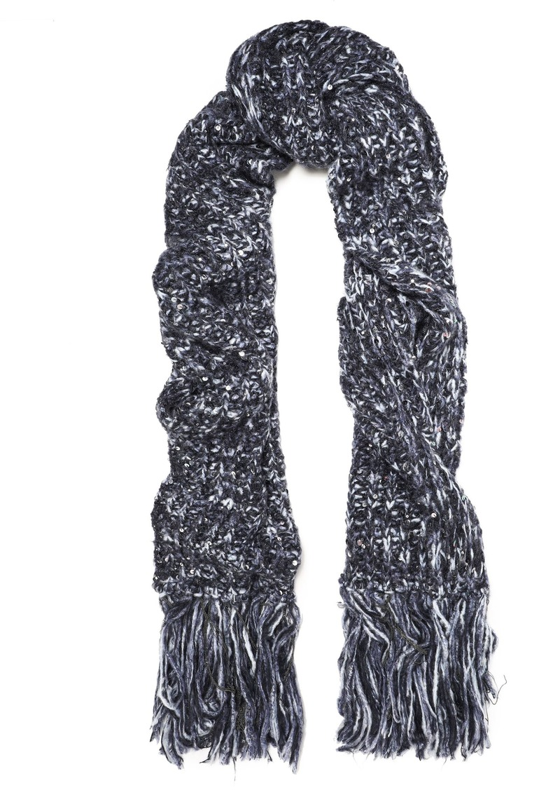 Brunello Cucinelli Woman Fringed Embellished Marled Knitted Scarf Blue