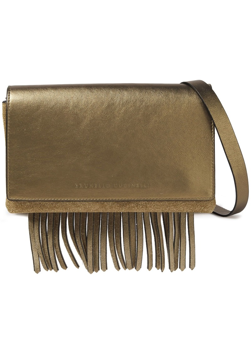 Brunello Cucinelli Woman Fringed Metallic Leather And Suede Shoulder Bag Brass