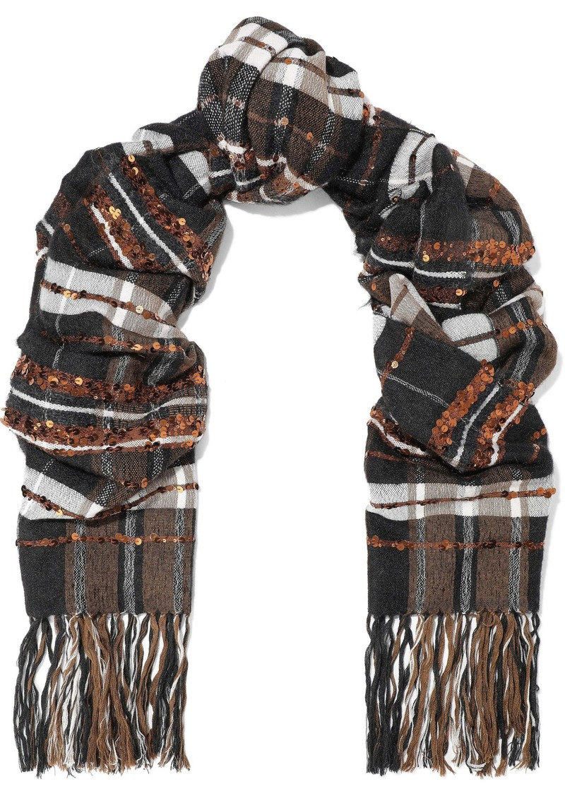 Brunello Cucinelli Woman Fringed Sequin-embellished Checked Jacquard Scarf Copper