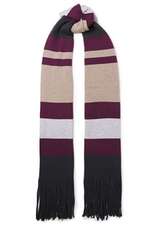 Brunello Cucinelli Woman Fringed Striped Cashmere Scarf Violet