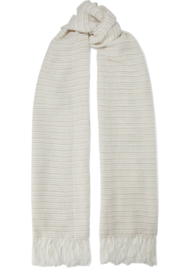 Brunello Cucinelli Woman Fringed Striped Linen-blend Gauze Scarf Ecru