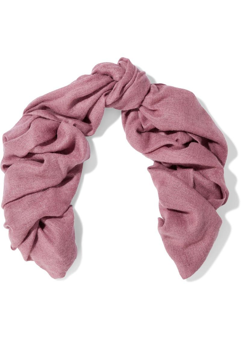 Brunello Cucinelli Woman Frayed Metallic Woven Scarf Pink