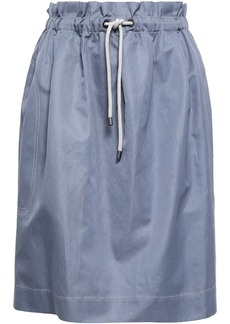 Brunello Cucinelli Woman Gathered Cotton And Ramie-blend Twill Skirt Gray