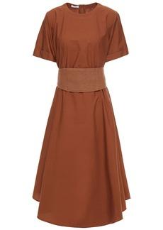 Brunello Cucinelli Woman Gathered Cotton-poplin Midi Dress Brown